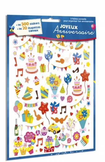 Joyeux Anniversaire - 500 stickers + 20 étiquettes cadeaux