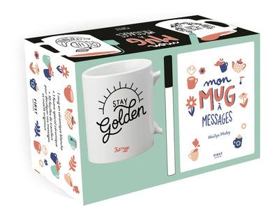 Coffret Mon mug à messages : un mug + un feutre spécial céramique + 10 feuilles de messages et motifs originaux à transférer