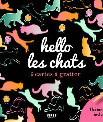 hello les chats - 6 cartes à gratter + 1 bâtonnet en couleurs