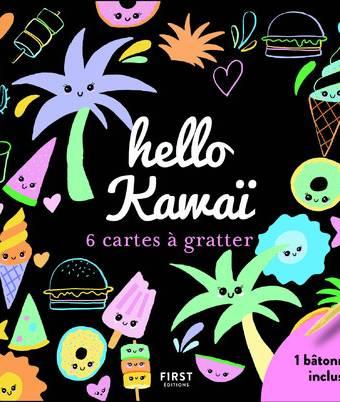 hello kawaï - 6 cartes à gratter + 1 bâtonnet inclus