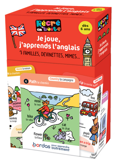 Récré en'Boîte - Cartes à jouer Je joue, j'apprends l'anglais - dès 6 ans