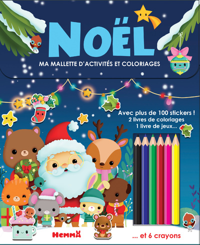 Ma mallette d'activités et coloriages - Noël (Fond bleu nuit)