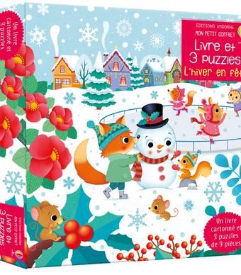 L'hiver en fête - Mon petit coffret Livre et 3 puzzles