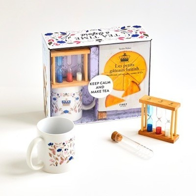 Coffret Tea time à Oxford, sablier pour le thé, mug porcelaine, infusette à thé et livre de recettes