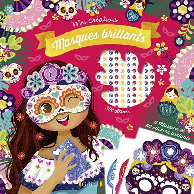 Masques brillants – Pochette avec 6 masques à décorer avec des strass et autocollants pailletés – À partir de 6 ans