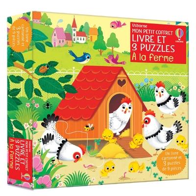 A la ferme - Mon petit coffret Livre et 3 puzzles