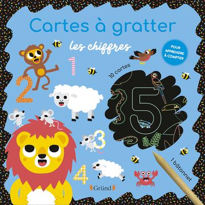Cartes à gratter : Les chiffres – Pochette avec 10 cartes à gratter – Dès 3 ans