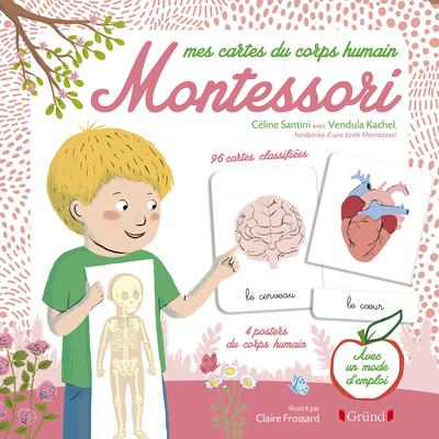 Pochette Montessori : Le corps humain – Kit avec 4 posters recto-verso, 80 cartes de nomenclature et 1 livret explicatif – À partir de 3 ans