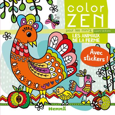 Color Zen pour les mini'z - Les animaux de la ferme - Livre de coloriage détente - Dès 4 ans